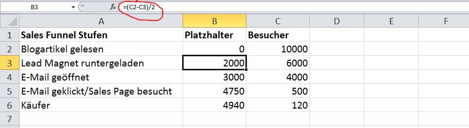 Sales Funnel visualisieren Schritt2